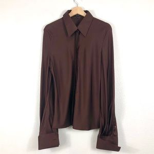 Gucci Brown Silk Button-up Collared Blouse EU 46